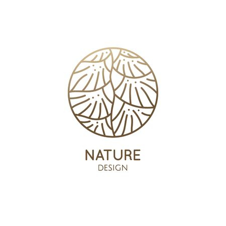 Leaf Ladder linear logo. Geometricshapes of plant icon. Houseplant floral flower.. Vector emblem of home plant in linear style for bussines design, eco products, spa, yoga