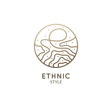 Abstract logo template in linear style. Vector round icon of sea landscape with waves. Outline ornamental emblem of water