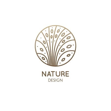 Tropical plant logo. Round emblem floral plant in linear style. Vector abstract badge flower for design of natural product