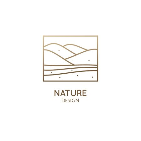 Mountains minimalistic logo. Rectangular linear icon of landscape. Vector abstract emblem, simple badge for a travel, alternative medicine and ecology concept, spa