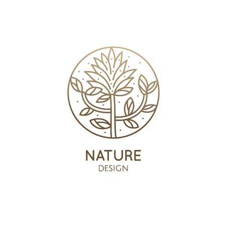 Tropical plant logo. Round emblem floral plant in linear style. Vector abstract badge flower for design of natural product, flower shop, cosmetics, floristic, ecology, health, medicine, healthy Vectores