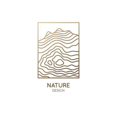 Abstract mountain logo. Natrural minimalistic landscape icon with topographic structure. Vector pattern with wavy lines. Geologic and mineral industry