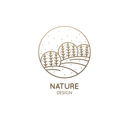 Vector logo of nature in linear style. Outline icon of winter landscape with trees,sun,fields,snow - business emblems, badge for a travel, farming and ecology concepts, health, spa and yoga Center.
