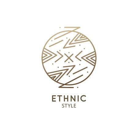 Abstract nature logo. Vector geometric badge. Sacred alchemic symbol. Outline icon of shapes mountains, piramyds