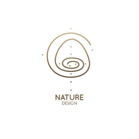 Round spiral logo mountain landscape. Minimal icon with mountain, sun and lake.