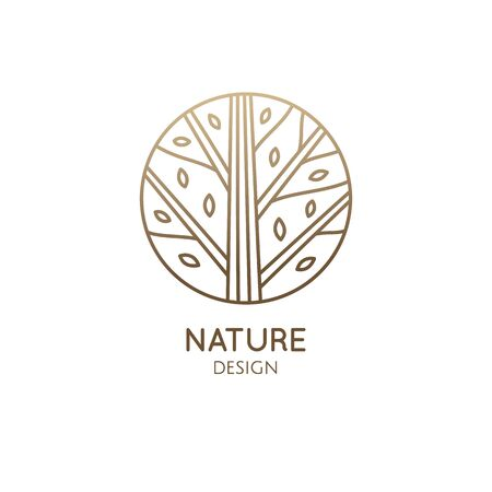 Forest logo template in linear style. Abstract outline round icon of trees, garden. Vector emblem for business design, badge for a cosmetology, farming, ecology concept, spa, health and yoga