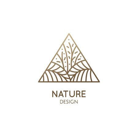 Tropical plant logo. Triangular emblem flower in linear style. Vector abstract badge for design of natural products, flower shop, cosmetics, ecology concepts, health, spa, yoga