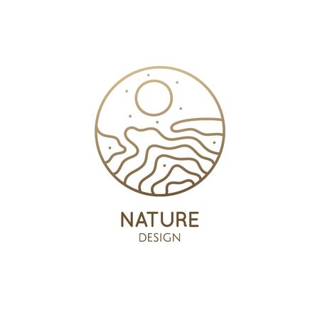 Abstract logo template in linear style. Vector round icon of sea landscape with waves, sun. Outline ornamental emblem of water, badge for travel, tourism, ecology, health, yoga and massage