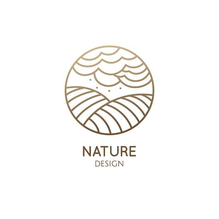 Vector logo of nature in linear style. Outline icon of landscape with sun, fields, clouds - business emblems, badge for a travel, farming and ecology concepts, health, spa