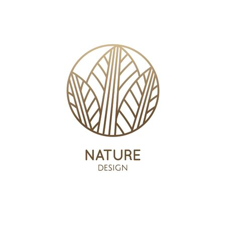 Tropical plant logo. Round emblem leaf plant in linear style. Vector abstract badge houseplant for design a plant grown indoors