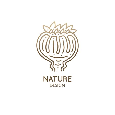 Flower bud linear logo. Decorative plant icon. Tropical plant in button. Vector emblem of home plant in linear style. Abstract illustration for bussines design, eco products, spa, yoga
