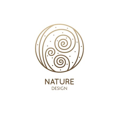 Albuca spiralis leaf linear logo. Corkscrew plant icon. Houseplant floral flower.. Vector emblem of home plant in linear style. Abstract illustration for bussines design, eco products, spa, yoga