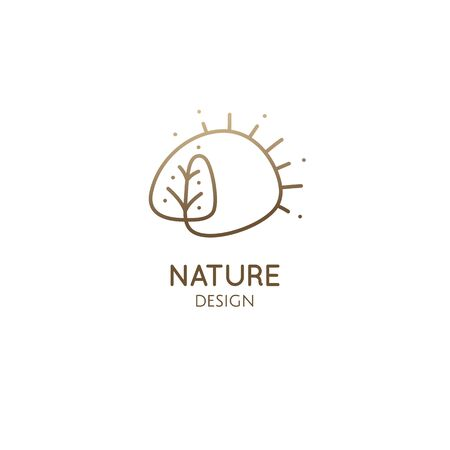 Vector logo of nature elements. Simple decorative emblem. Linear icon of landscape with tree, sun - business emblems, badge for a travel, farming and ecology concepts, health and yoga