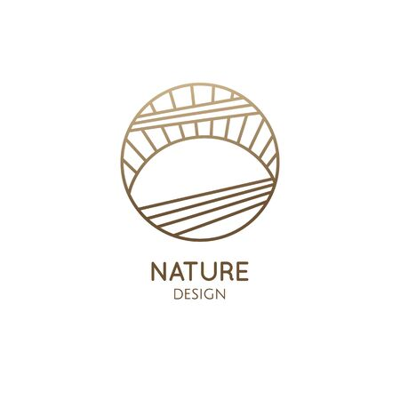 Sun and sea logo. Vector round icon of sea landscape - sunset, sunrise in linear style. Minimal badge for business emblems, for a travel, tourism and ecology concepts