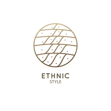 Vector logo of nature in linear style. Outline icon of simple landscape with trails, fields - business emblems, badge for a travel, farming and ecology concepts, health, spa and yoga Vectores