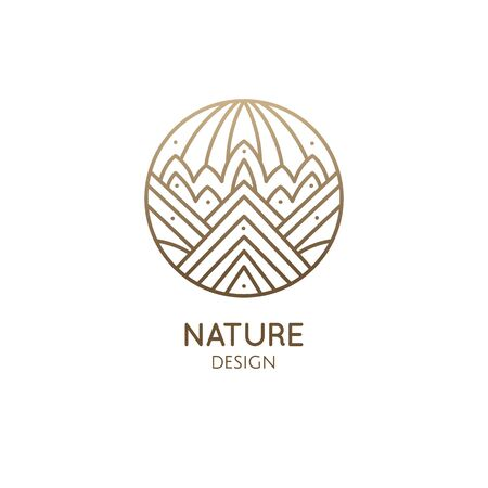 Geometric decorative logo of mountains. Abstract linear icon of landscape with mountains, trees and sun
