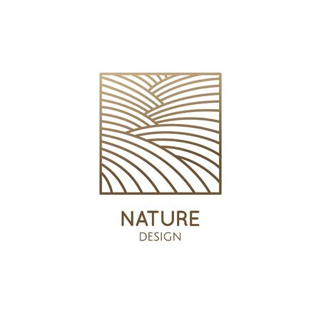 Nature abstract pattern. Linear logo of fields, hills or structure of water. Square icon of landscape. Vector emblem, badge for travel, alternative medicine, ecology