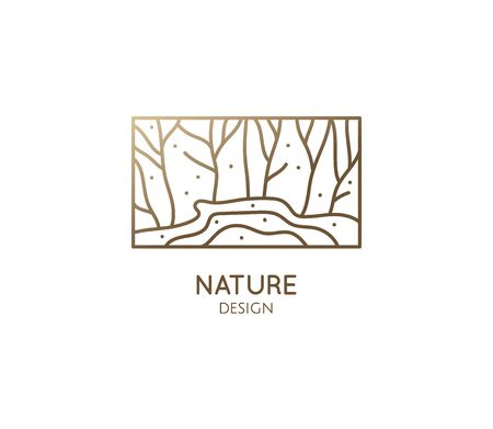 Vector logo of nature elements in linear style. Linear icon of landscape with trees and field with river - business emblems, badge for a travel, farming and ecology concepts, health and yoga Center.