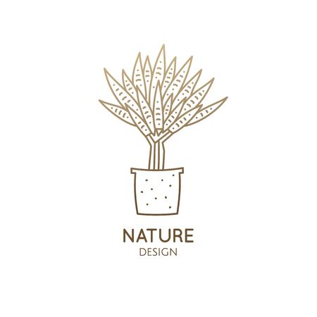 flower in linear style. Abstract stylized illustration for bussines design, hand made packaging of natural, eco products, spa, yoga badge
