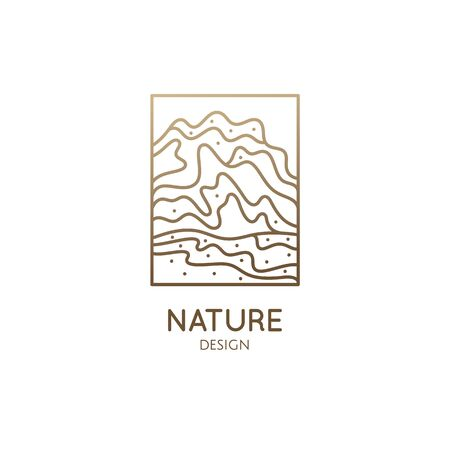Abstract mountain logo. Natrural minimalistic landscape icon with topographic structure. Vector pattern with wavy lines. Ornamental rectangular emblem. Geologic and mineral industry, travel