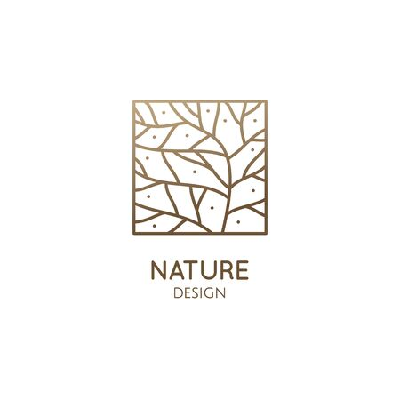 Abstract pattern logo of leaf. Vector emblem wavy structure of plant. Ornamental minimal badge for design of natural products, flower shop, cosmetics and ecology concepts, health, spa and yoga Vectores
