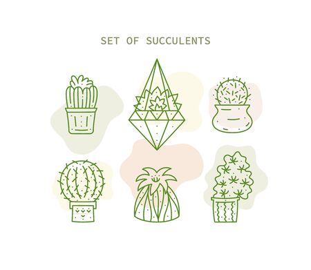 Continuous Line Drawing of Vector Set of Cute Cactus in pot. Collection of succulents plant. Sketch House Plants Isolated on White Background. Potted Cactus Family