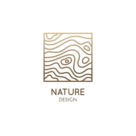 Pattern logo water template. Vector square icon of water or wood structure with wavy lines. Abstract ornamental emblem for business - travel, tourism and ecology concepts, health, yoga, massage Ilustração