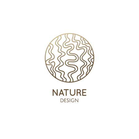 Trachyandra tropical plant. Abstract pattern tree logo. Vector emblem wavy structure of plant. Simple badge for design of natural products, flower shop, cosmetics and ecology, healthy food.