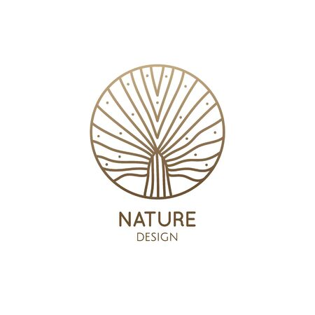 Plant logo of tropical leafs in circle. Palm leaf linear emblem for design of business, holiday, travel agency, ecology and resort concept, tourism, spa and natural cosmetics. Vector icon