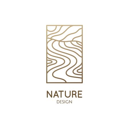 Abstract nature logo. Natrural minimalistic landscape icon with waves structure. Vector pattern with wavy lines. Ornamental rectangular emblem. Geologic and mineral industry, travel, massage Vectores