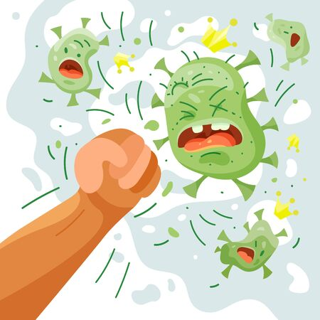 Fight covid-19 corona virus. Cure corona virus. A man punches a virus. People fight bacteria. Vector cartoon illustration vaccine concept, end of 2019-ncov. Do not be afraid