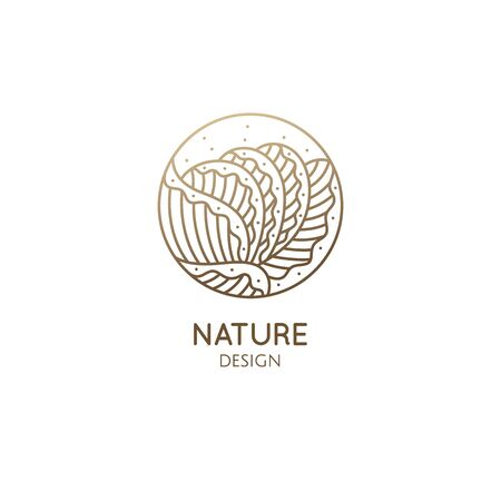 Plant logo of tropical leafs in circle. Leaf vegetable linear emblem for design of business, healthy and raw food, salad greens, holistic medicine, spa, natural cosmetics, massage. Vector icon Ilustração
