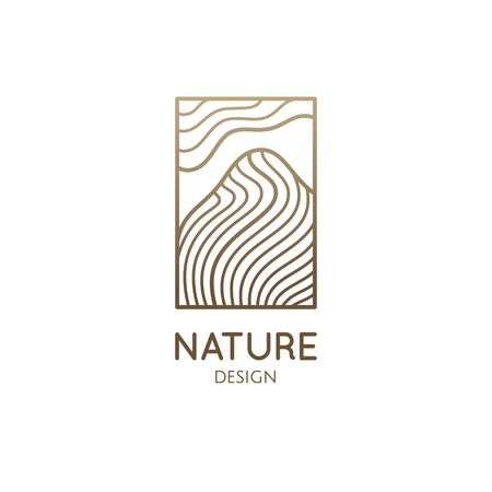 Abstract nature logo. Mountain landscape icon. Vector pattern of mountains with wavy lines structure. Rectangular emblem. Geologic and mineral industry, travel agency, hiking, sport goods Vectores