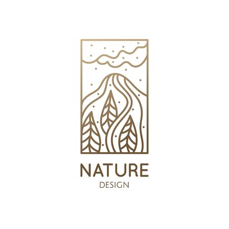 Abstract nature logo. Mountain landscape icon. Vector pattern of mountains with trees wavy lines. Decorative rectangular emblem. Forest and mineral industry, travel agency, hiking, yoga, spa Ilustração