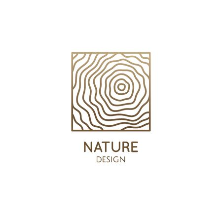 Pattern logo wood template. Vector square icon of wooden structure or water with wavy lines. Abstract ornamental emblem for business - travel, tourism and ecology concept, health, yoga, massage Ilustração