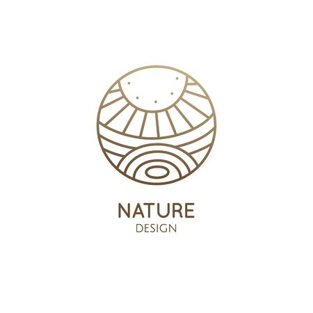Vector logo of nature elements - sun, lake, field. Outline icon of abstract landscape - business emblem, zen, ecology, health and recycle concepts, yoga Center. Environment logo. Ilustração