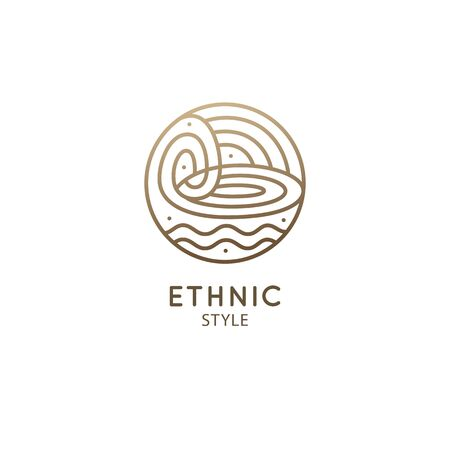 Vector logo of nature elements. Round sacred symbol. Outline icon of abstract landscape - business emblem, zen, ecology, health and recycle concepts, yoga Center. Environment logo Ilustração