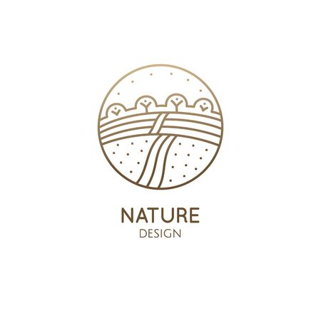 Farm landscape, field line icon. Outline illustration of countryside vector linear design isolated on white background. Farm logo template, element for agriculture business, line icon object.