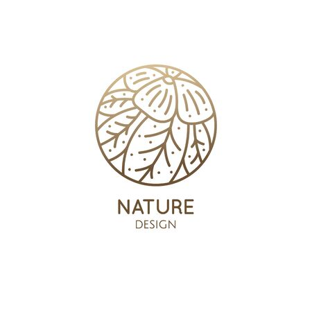 Tropical plant logo. Round emblem flower in linear style. Vector abstract badge for design of natural products, flower shop, cosmetics, ecology concepts, health, spa, yoga Center. Environment logo