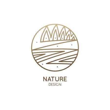 Vector logo of nature in linear style. Outline icon of landscape with river, trees, outdor - business emblems, badge for a travel, farming and ecology, agricalture, spa and recycle