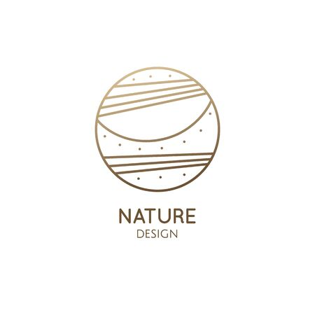 Sun and sea logo template. Vector round icon of sea landscape - sunrise, cloud in linear style. Minimal badge for business emblems, for a travel, tourism and ecology concepts, health and yoga