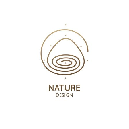 Mountain, lake minimal . Vector abstract icon of landscape. Wavy lines in linear style. Minimal simple emblem, badge for travel, alternative medicine, ecology concept, holistic, spa, health, yoga Ilustração