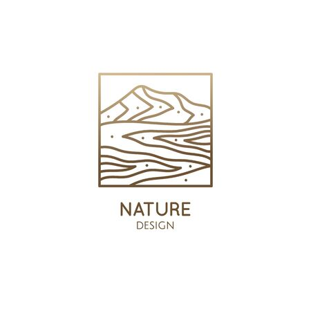Mountain minimalistic . Rectangular linear icon of landscape - mountains and river. Vector abstract emblem for a travel, alternative medicine and ecology, recycle concept, spa, health, Center