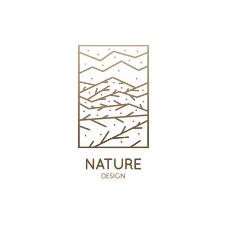 Vector of nature elements. Ornamental mountains, plants and fields. Linear icon of mountain landscape with trees, river, clouds. Business emblems for travel, farming, ecology and recycle concept Banque d'images - 149578848