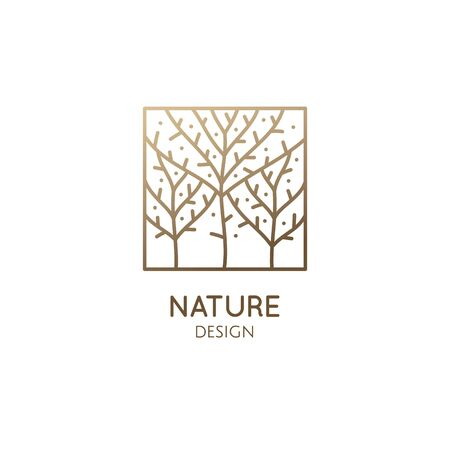 Trees template. Abstract outline rectangular icon of blossom garden. Vector ornamental emblem for business design, badge for a cosmetology, recycle, ecology concept, spa, health, yoga Center Ilustração