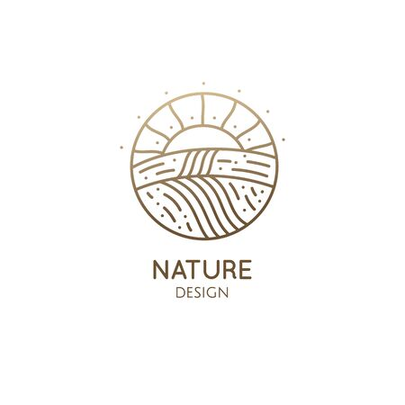 Natural landscape, fields and sun at sunset. Vector linear farm template, fertile fields planted with eco products. Fertile land with harvest. Outline icon of countryside, agriculture business Ilustração