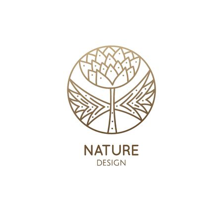 Tropical plant . Round emblem of flower in linear style. Clover icon. Vector abstract badge for design of natural products, flower shop, cosmetics, ecology concepts, health, spa, yoga Center Ilustração