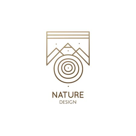 Abstract nature geometric elements. Square sacred symbol of mountains. Minimal outline icon of abstract landscape - business emblem for design cards, packaging, zen, ecology, health, yoga Center