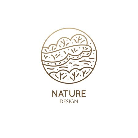 Nature - coast, trees, river. Linear icon of pattern landscape. Vector illustration of growing plants and trees. Round emblem for travel, alternative medicine, ecology concept, spa and health