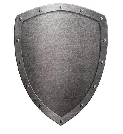 Old metal medieval shield isolated on white. Safety symbol. 3D illustration